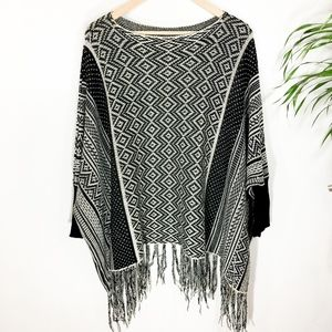 Sweaters - Aztec Poncho One Size Sweater